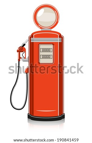 Retro Gas Pump on white background. Vector - stock vector