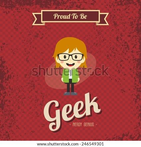 retro geek cartoon character - stock vector