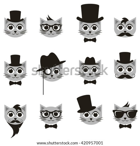 retro gentleman and hipster cat icons set - stock vector