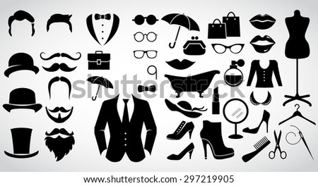 Retro gentleman and lady. Vintage fashion icon set. Vector art. - stock vector