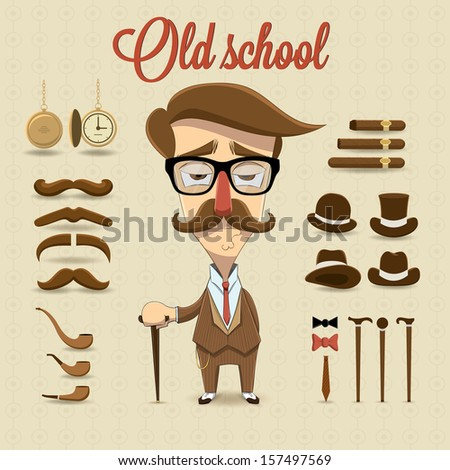 Retro gentleman character. Vector illustration - stock vector