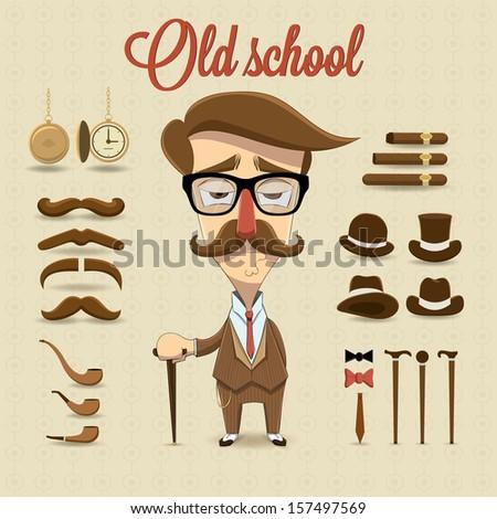 Retro gentleman character. Vector illustration - stock vector