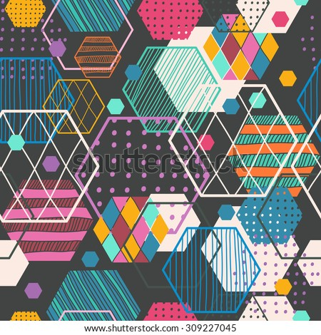 Retro geometric hexagon seamless pattern, beautiful colorful pattern for graphic design, Vector - stock vector