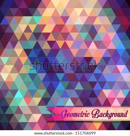 Retro geometric shapes. Colorful mosaic backdrop. Geometric hipster retro background. vector
