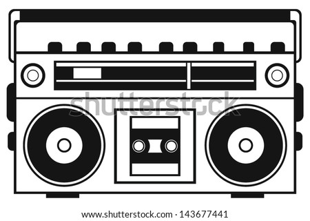 Retro ghetto blaster isolated on white background - stock vector