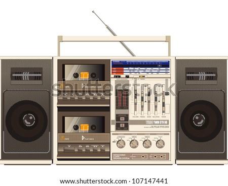 retro ghetto blaster radio illustration - stock vector
