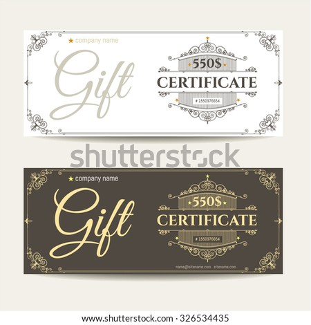 Retro gift certificate and a place for text, logo, contact information. The combination of graphic elements with typography.  Example designs for Cafe, Hotel, Heraldic, Jewelry