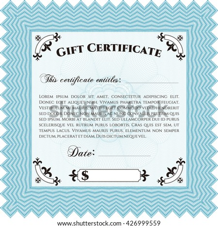 Retro Gift Certificate template. Artistry design. With complex linear background. Border, frame.