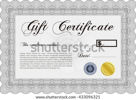 Retro Gift Certificate template. Border, frame. Artistry design. With complex linear background.  - stock vector