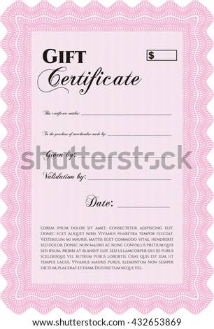Retro Gift Certificate template. With linear background. Border, frame. Beauty design.  - stock vector
