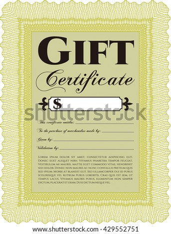 Retro Gift Certificate. With background. Customizable, Easy to edit and change colors. Good design.  - stock vector