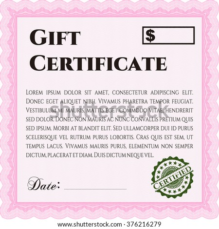 Retro Gift Certificate. With background. Detailed. Cordial design.