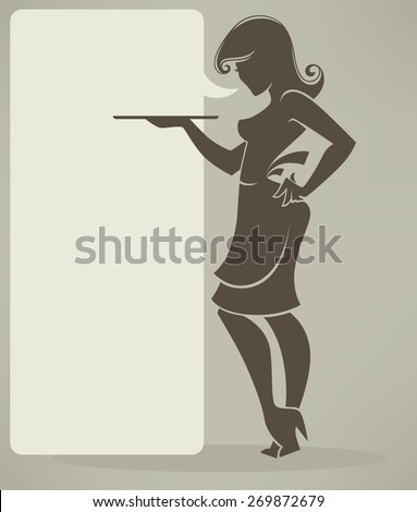 retro girl silhouette for your menu - stock vector