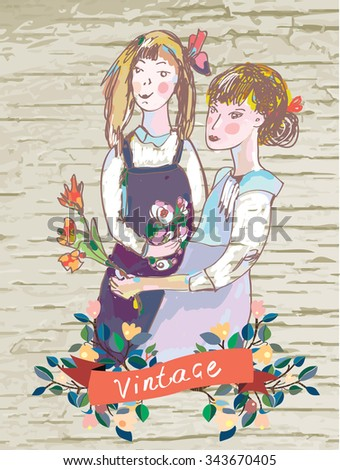 Retro girls vintage card with flowers frame - vector illustration - stock vector
