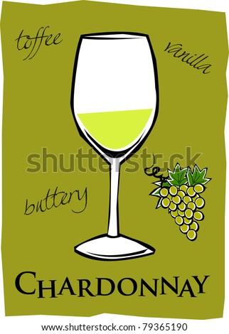 Retro Glass of Chardonnay Wine Vector Illustration - stock vector