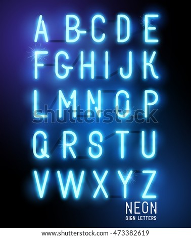 Retro glowing neon blue sign letters. Vector alphabet.
