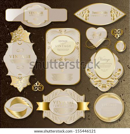 Retro gold label/can be used for invitation, congratulation// vector illustration - stock vector
