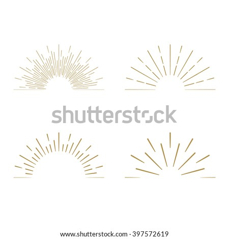 Retro gold Sun burst shapes. Vintage light starburst logo, labels, badges. Sunburst minimal logo frames. Vector firework design elements.  - stock vector