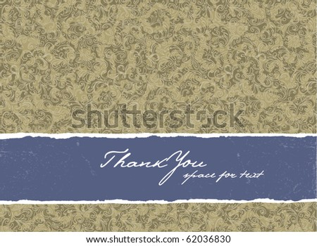 Retro golden colored invitation with floral background. - stock vector