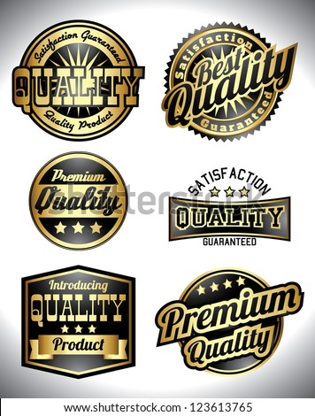 retro golden quality labels black