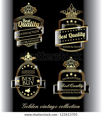 retro golden quality labels with crowns in transparent design usable for backgrounds of any color - stock vector