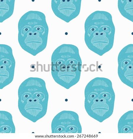Retro gorilla seamless pattern. Vector illustration. - stock vector