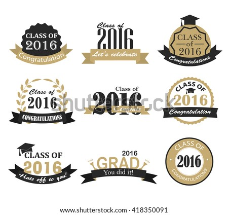 Retro graduation 2016 badges, signs and symbols with graduation hat, fireworks, crackers, balloons and text, vector illustration. Congratulation to graduates of 2016 year - stock vector - stock vector