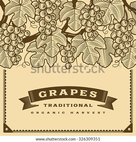 Retro grapes harvest card brown. Editable vector illustration with clipping mask. - stock vector