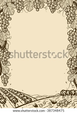 Retro grapes vertical brown frame. Editable vector illustration with clipping mask.