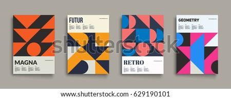 retro graphic design covers cool vintage shape compositions eps10 vector