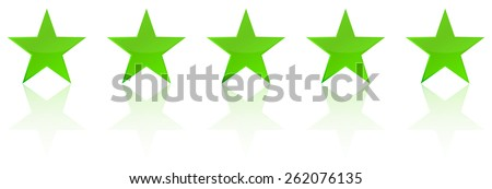 Retro Green Five Star Product Quality Rating - stock vector