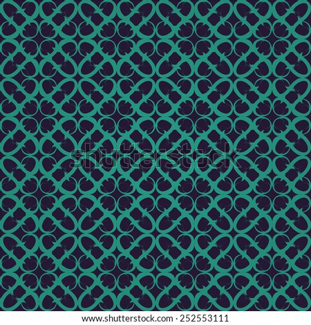 Retro green violet ornate seamless background - stock vector