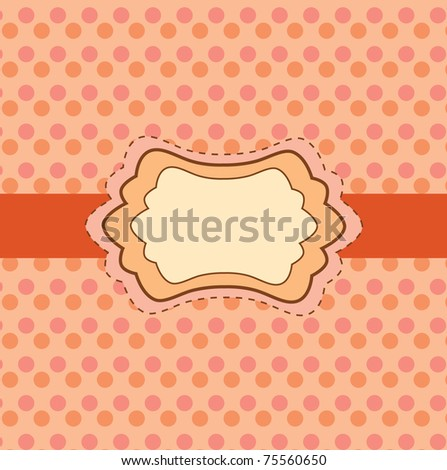 Retro greeting card template design, polka dot pattern, vintage style, fashion invitation