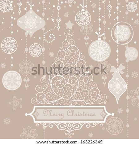 Retro greeting pastel card with xmas tree.  - stock vector