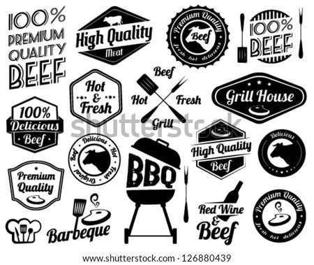 Retro Grill Badges And Labels in Vintage Style - stock vector