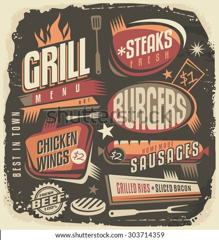 Retro grill menu design template. Vintage restaurant poster unique concept. Fun ad layout for barbecue hot and fresh food. Old fashioned background on scratched paper texture. - stock vector