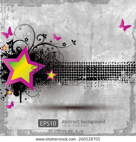 Retro grunge background with star and butterflies  - stock vector