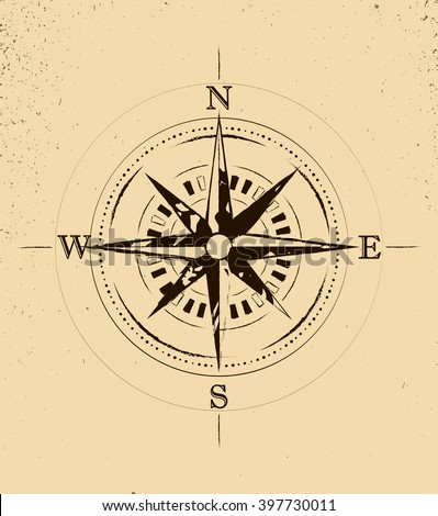 Retro Grunge Old Compass Tattoo vector