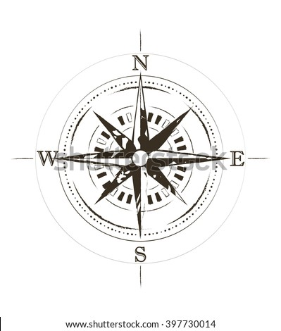 Retro Grunge Old Compass Tattoo Vector Stock Vector 397730014 ...