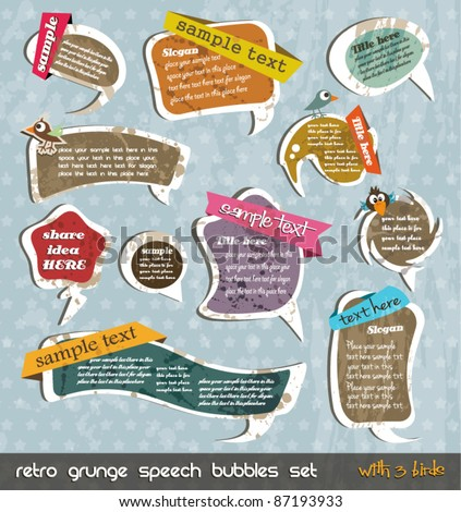 Retro grunge speech bubbles collection with shadows and 3 little birds! Vintage comic style with liquid drop for a unique distressed style - stock vector