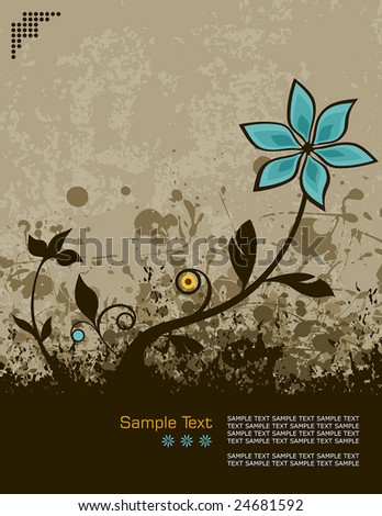 retro grunge vector illustration of a flower growing from the ground - stock vector