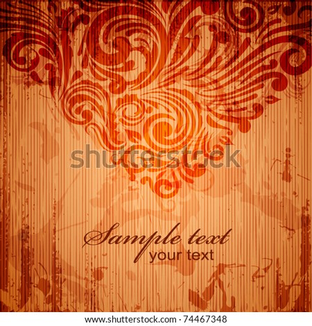 Retro grungy background with scrolls - eps10 - stock vector