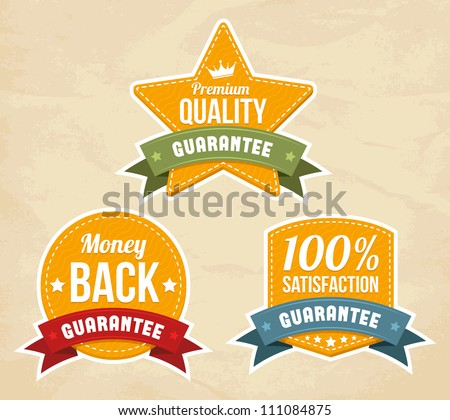 Retro guarantee labels. Vector illustration. - stock vector