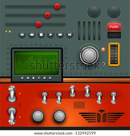 Retro GUI design, layered vector illustration. - stock vector
