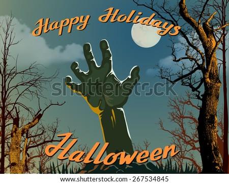 Retro Halloween Background - stock vector