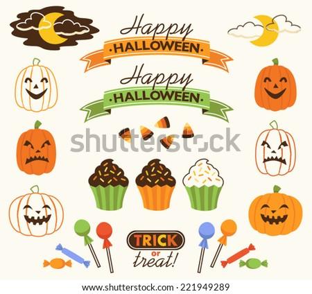 Retro Halloween Vector Decorative Elements Set - stock vector