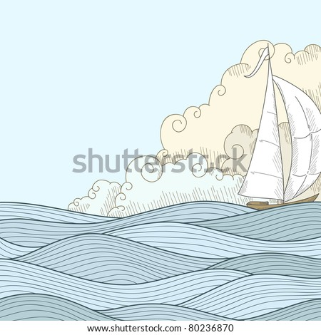 Retro hand draw styled sea with clouds and sailor boat. Vector illustration.