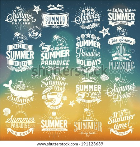 Retro hand drawn elements for Summer calligraphic designs | Vintage ornaments | All for Summer holidays | tropical paradise, sea, sunshine, weekend tour, beach vacation, adventure labels | vector set - stock vector
