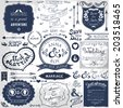 Retro hand drawn elements for wedding invitations, greetings, guest information. Vector illustration. - stock vector