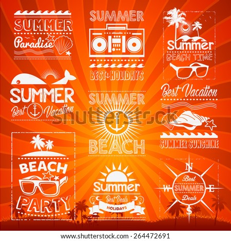 Retro hand drawn elements Summer calligraphic designs Vintage ornaments - stock vector